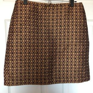 Gold LOFT skirt with pattern